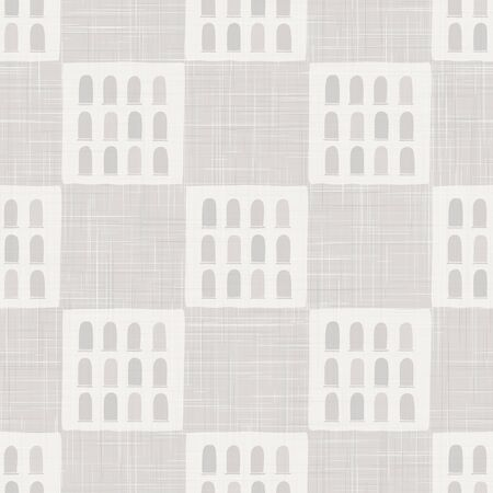 Architectural vector seamless pattern. Paper cut style collage.