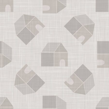 Gray vector french linen woven texture background. Printed with cottage house or chalet . Vettoriali