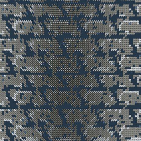 Dark tweed knit stitch effect vector texture. Masculine dark camo seamless melang pattern. Hand knitting sweater material. Close up fabric textile craft background. Homespun wool allover print.