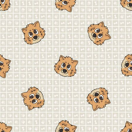 Hand drawn cute pomeranian puppy breed dog face seamless vector pattern. Purebred pedigree domestic dog on paw background. Dog lover spitz pet all over print. Kennel pooch. Illustration