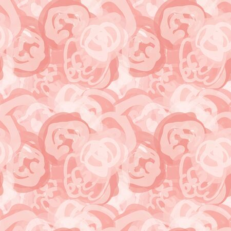 Painterly rose floral motif vector watercolor background. Seamless flower repeat pattern. Delicate hand painted feminine bloom for textile all over print, home decor. Artistic pink repeat.