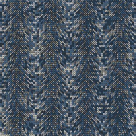 Dark tweed knit stitch effect vector texture. Masculine dark marl seamless melang pattern. Hand knitting sweater material. Close up fabric textile craft background. Homespun wool allover print. Vetores