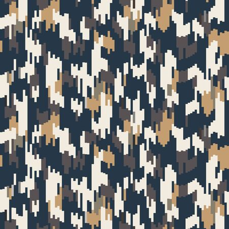 Spliced vector stripe. Geometric variegated background. Seamless camo ikat pattern with woven broken lines. Modern distorted pixel textile all over print. Trendy digital disrupted glitch tile.