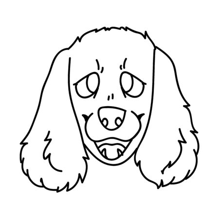 Cute cartoon monochrome line art spaniel face dog clip art.