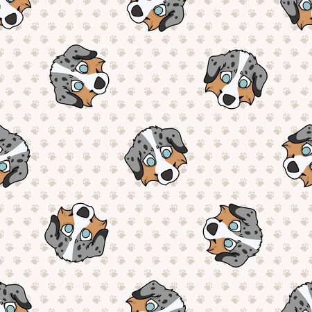 Hand drawn cute australian puppy shepherd face breed dog seamless pattern. Purebred pedigree domestic dog on paw background.