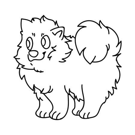 Cute cartoon monochrome lineart puppy pomeranian dog breed  clip art. Pedigree kennel doggie breed for dog lovers.
