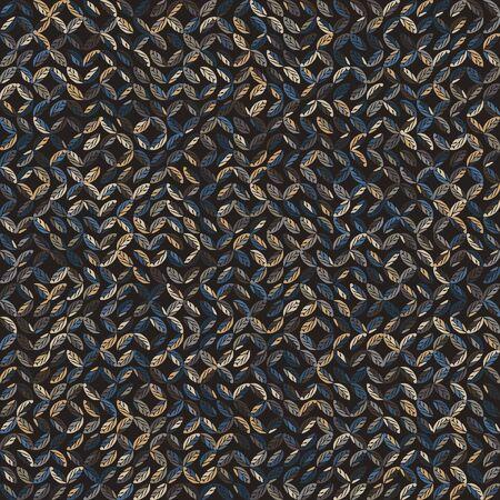 Dark leaf mosaic effect texture. Masculine geometric seamless melange pattern. Hand drawn variegated irregular shapes background.