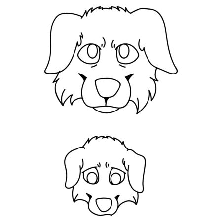 Cute carton Australian Shepherd dog and puppy breed face lineart vector clipart. Pedigree kennel doggie for dog lovers. Purebred domestic pet for pet parlor illustration mascot. Isolated canine hound