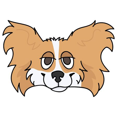 Cute cartoon papillon dog breed face vector clipart. Pedigree kennel doggie breed for dog lovers. Purebred domestic puppy for pet parlor illustration mascot. Isolated canine fluffy.  Illustration
