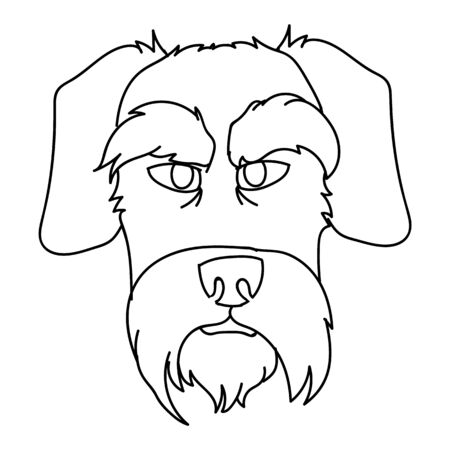 Cute cartoon monochrome schnauzer dog face breed lineart vector clipart. Pedigree doggie breed for dog lovers. Purebred puppy domestic for pet parlor illustration mascot. Isolated terrier. Vectores
