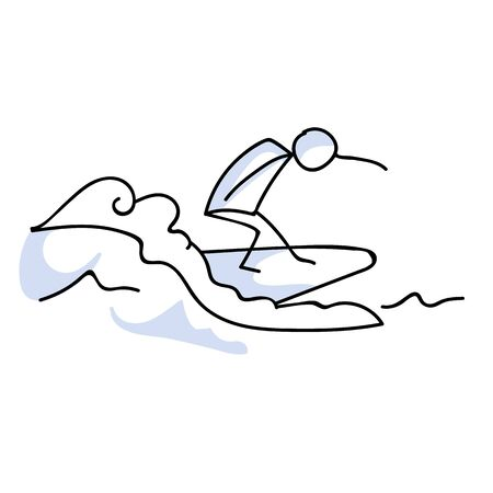 Cute stick figure surfing on ocean wave vector clipart. Hawaiian outdoor sports. Hand drawn simple surfer illustration. Tropical summer holiday.