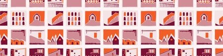 Architectural house windows vector seamless banner pattern. Paper cut style collage border background. Urban building band for vacation brochure. Travel tourism ribbon trim edge. Modern style . Иллюстрация