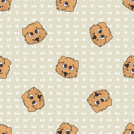 Hand drawn cute rough collie puppy face seamless vector pattern. Purebred pedigree puppy domestic dog on paw background. Dog lover sheepdog pet all over print 向量圖像