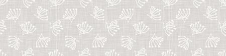 Gray french country style linen texture border background. Printed with white seed flower. Natural ecru flax fibre bloom seamless border pattern. Classic yarn close up weave textur ribbon trim edge. Иллюстрация