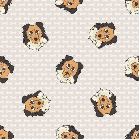 Hand drawn cute rough collie puppy dog face seamless vector pattern. Purebred pedigree puppy domestic dog on paw background. Dog lover sheepdog pet all over print. Kennel pooch.