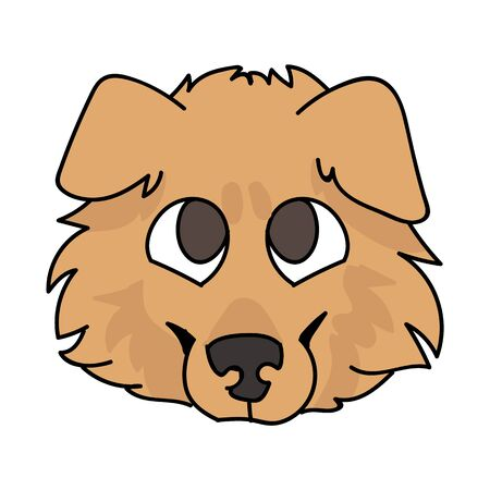 Cute cartoon rough collie puppy dog face vector clipart. Pedigree kennel sheepdog for dog lovers. Purebred domestic puppy for pet parlor illustration mascot. Isolated canine fluffy. EPS 10.
