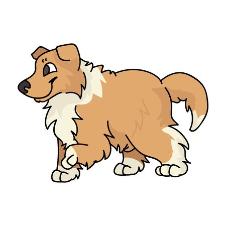 Cute cartoon rough collie puppy dog vector clipart. Pedigree kennel sheepdog for dog lovers. Purebred domestic puppy for pet parlor illustration mascot. Isolated canine fluffy.