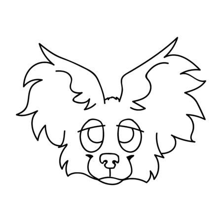 Cute cartoon papillon puppy dog face monochrome line art vector clipart. Pedigree kennel breed for dog lovers. Purebred domestic puppy for pet parlor illustration. Isolated canine fluffy.