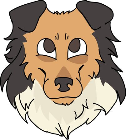 Cute cartoon rough collie face dog breed vector clipart. Pedigree kennel sheepdog for dog lovers. Purebred domestic puppy for pet parlor illustration mascot.