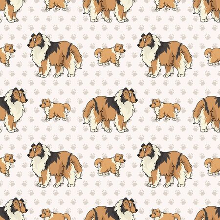 Hand drawn cute rough collie breed dog and puppy seamless vector pattern. Purebred pedigree puppy domestic dog on paw background. Dog lover sheepdog pet all over print.