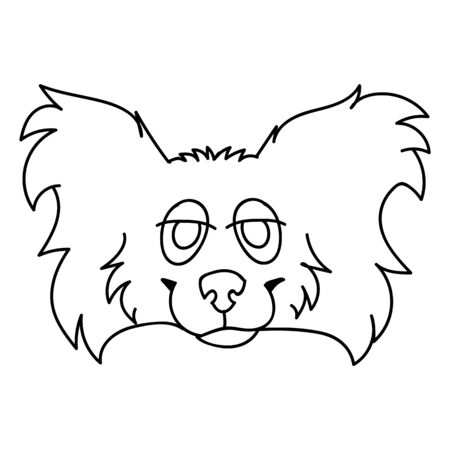 Cute cartoon papillon dog face monochrome line art vector clipart. Pedigree kennel puppy breed for dog lovers. Purebred domestic puppy for pet parlor illustration.