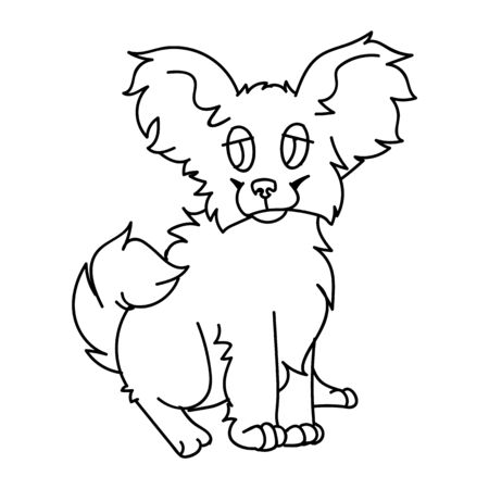Cute cartoon papillon puppy dog monochrome line art vector clipart. Pedigree kennel breed for dog lovers. Purebred domestic puppy for pet parlor illustration. 向量圖像