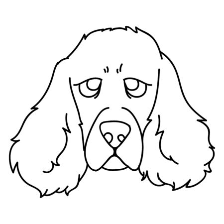 Cute cartoon monochrome lineart puppy cocker spaniel face dog vector clipart. Pedigree kennel doggie breed for dog lovers. Purebred domestic for pet parlor illustration mascot. Isolated canine hunting Vectores