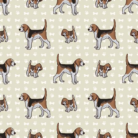 Hand drawn cute puppy and foxhound hunting dog seamless vector pattern. Purebred pedigree domestic dog on paw background. Dog lover english pet all over print. Kennel pooch. EPS 10.