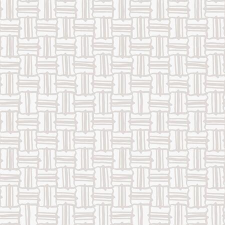 Cream Gray Vector French Linen Texture Background. Old Ecru Flax Fibre Seamless Pattern. Woven Ribbon Geo Criss Cross Mark Line Weave Fabric . Neutral Ecru Burlap Cloth Overlay. EPS10 Repeat Tile
