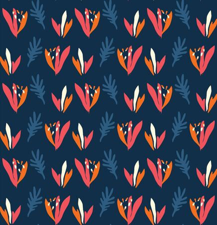 Classic Blue Bold Vector Summer Bloom Floral Motif Seamless Pattern. Hand Painted Bird of Paradise Flower Background. Bright Cut Out Collage Style Textile. Exotic Tropical All Over Print Eps 10 Tile.