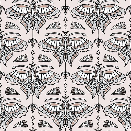 Vintage Art Deco Butterfly Vector Seamless Pattern. Stylised 1920s style Geometric Moth Bug Damask Background. Hand Drawn Ornate Classic Wings Textile. Ornamental Flourish All Over Print Eps 10