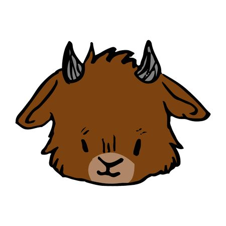 Cute funny smiling brown goat face in naive style vector clipart. Alpine baby billy goat with horns. Kawaii funny farm animal illustration . Isolated livestock doodle. EPS 10.