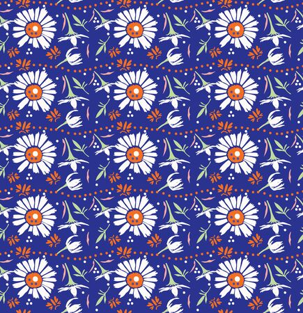 Hand Drawn Vector Classic Blue Daisy Summer Bloom Floral Motif Seamless Pattern. Pretty Vintage Flower Petal Background. Modern Feminine Cut Out Collage Style All Over Print. Repeat Tile Swatch EPS10