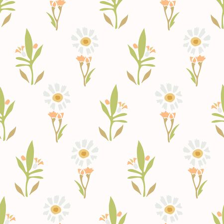 Chamomile Lawn Daisy Wildflower Motif Background. Naive Margerite Flower Seamless Pattern on White. Delicate Leaves Hand Drawn Textile. Spring and Summer Meadow Repeat Illustration. Vector EPS 10