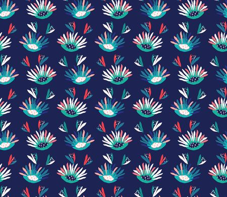 Hand Painted Vector Daisy Bold Summer Bloom Floral Motif Seamless Pattern. Classic Blue Pink Flower Petal Background. Modern Bright Cut Out Collage Textile. Exotic Tropic All Over Print Eps 10 Tile.