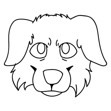 Cute cartoon monochrome lineart australian face shepherd dog vector clipart. Pedigree kennel doggie breed for dog lovers. Purebred puppy domestic for pet parlor illustration mascot. Isolated. Vettoriali