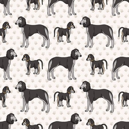 Hand drawn cute puppy and saluki breed dog seamless vector pattern. Purebred pedigree domestic dog on paw background. Dog lover pet parlour pet all over print. Kennel pooch. EPS 10.