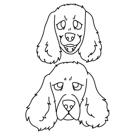 Cute carton cocker spaniel dog and puppy breed face lineart vector clipart. Pedigree kennel doggie for dog lovers. Purebred domestic pet for pet parlor illustration mascot. Isolated canine English. Vectores