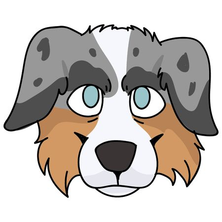Cute cartoon australian shepherd dog face vector clipart. Pedigree kennel doggie breed for dog lovers. Purebred domestic puppy for pet parlor illustration mascot. Isolated canine English hunting breed Illustration