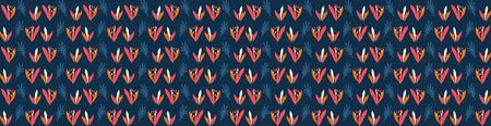 Hand Painted BoldVector Summer Bloom Floral Motif Seamless Banner Pattern. Classic Blue Pink Flower Petal Border Background. Modern Bright Cut Out Collage Style. Exotic Tropic Ribbon Trim Edge Eps 10