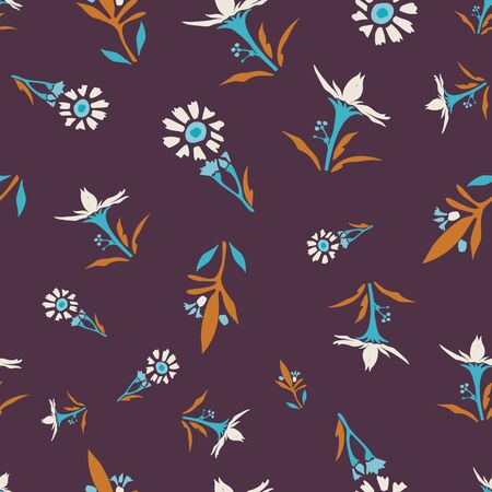 1970s Retro Daisy Wildflower Motif Background. Naive Margerite Flower Seamless Pattern. White on Brown. Delicate Leaves Hand Drawn Textile. Bold Summer Bloom Vintage Repeat Illustration. Vector EPS 10