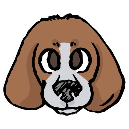 Cute cartoon foxhound puppy hunting dog face vector clipart. Pedigree kennel baby doggie breed for dog lovers. Purebred doggy for pet parlor illustration mascot. Isolated canine hound. EPS 10.