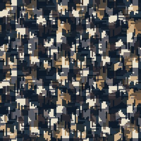 Spliced vector geo texture. Geometric variegated background. Seamless camo pattern with woven broken line. Modern distorted pixel textile all over print. Trendy digital disrupted glitch tile repeat