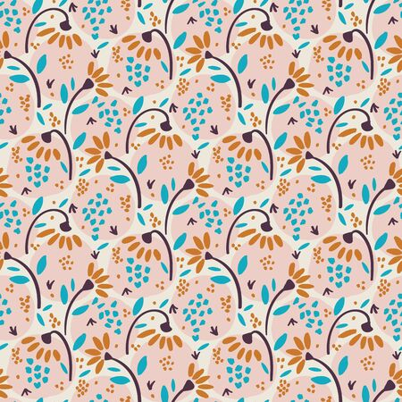Hand Drawn Vector Daisy Summer Bloom Floral Motif Seamless Pattern. Pretty Vintage Pink Flower Petal Background. Modern Feminine Cut Out Collage Prairie Style All Over Print. Repeat Tile Swatch EPS10 Vettoriali