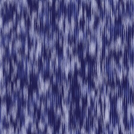 Classic blue seamless pattern. Variegated dyed tri blend stripes background. Denim indigo woven ikat T shirt fabric texture. Melange stripy jeans effect repeat vector swatch.