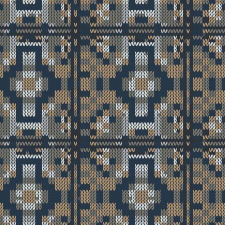 Dark tweed knit stitch effect vector texture. Masculine dark geometric seamless melang pattern. Hand knitting sweater material. Close up fabric textile craft background. Homespun allover print swatch. Çizim