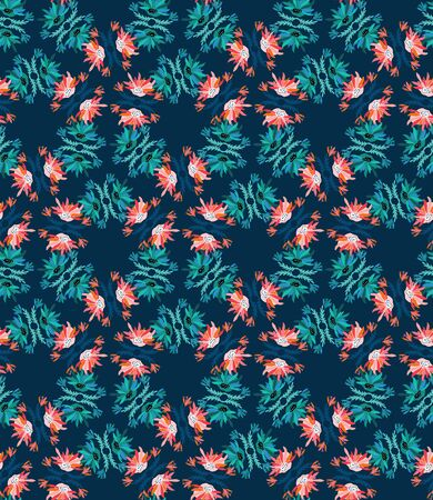Classic Blue Floral Symmetry Motif Background. Dark Abstract Flower Leaf Mosaic Seamless Pattern. Elegant Exotic Tropical Bloom Stained Glass Effect Indigo Textile . Repeat Illustration Vector EPS 10