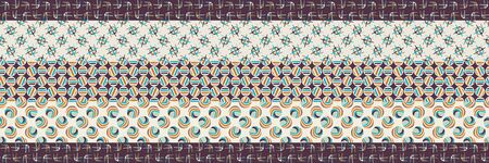 Mid Century Vector Patchwork Banner. Modern Vintage Pattern Border Quilt Stripes Background. Homespun Graphic Design. Seamless Edge Mosaic 1960s Style. Vintage Retro Geo. Hipster Flat Color EPS 10 Çizim