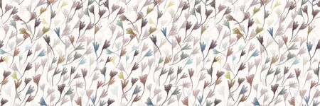 Watercolor Leaf Stem Vector Seamless Border Pattern. Leaves Blowing in the Wind Hand Painted White Banner Edging. Autumn Fall Mood Wildflower Illustration. Faded Variegated Dye Colors Trim.