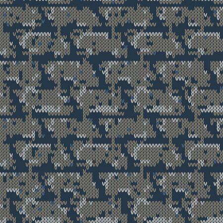 Dark tweed knit stitch effect vector texture. Masculine dark camo seamless melang pattern. Hand knitting sweater material. Close up fabric textile craft background. Homespun wool allover print swatch. Çizim